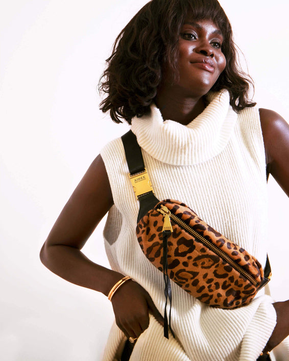 Milan Bum Bag Large Leopard Haircalf - on model