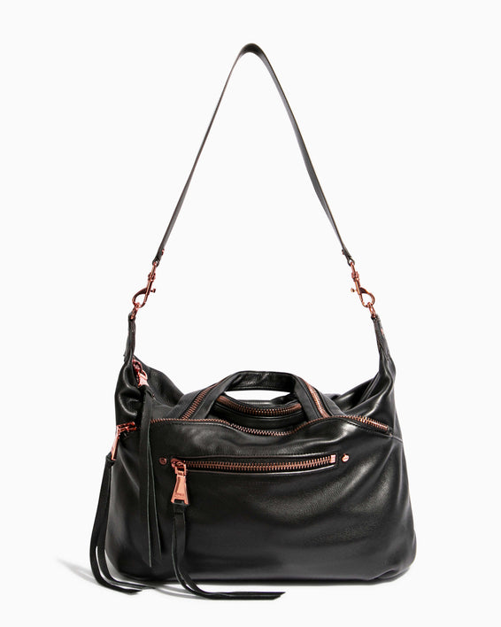 Night Is Young Satchel - black with shoulder strap