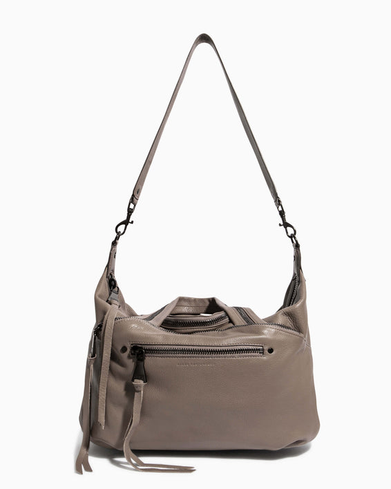 Night Is Young Satchel - charcoal with shoulder strap