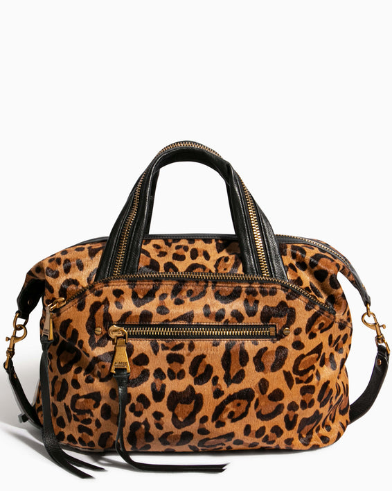 Night Is Young Satchel - large leopard haircalf front