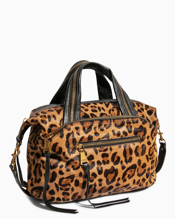 Night Is Young Satchel - large leopard haircalf side angle