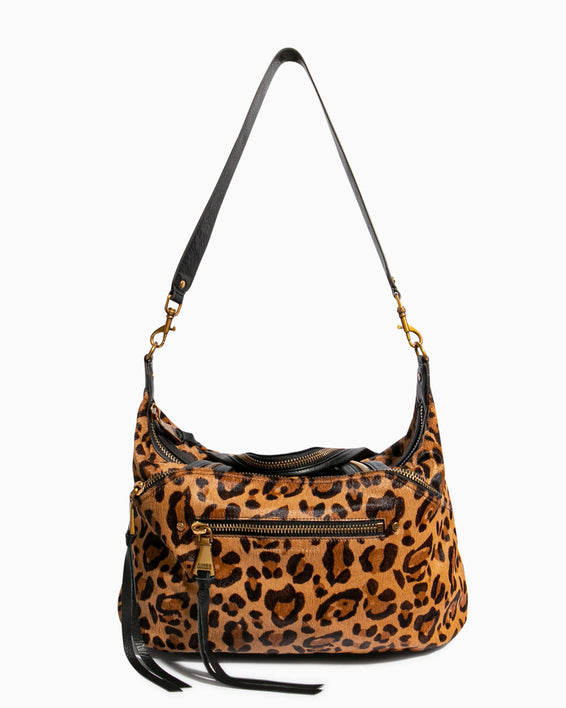 Night Is Young Satchel - large leopard haircalf with shoulder strap