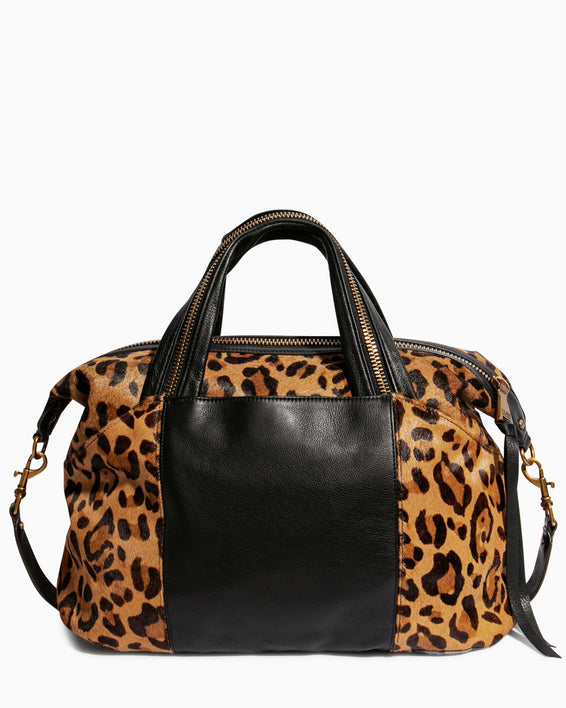 Night Is Young Satchel - large leopard haircalf back
