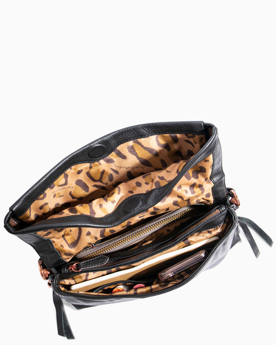 Night Is Young Shoulder Bag - large leopard haircalf interior functionality