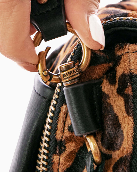 Night Is Young Shoulder Bag - large leopard haircalf hardware detail