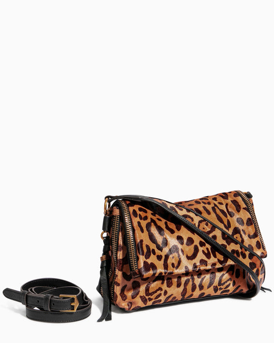 Night Is Young Shoulder Bag - large leopard haircalf removable strap