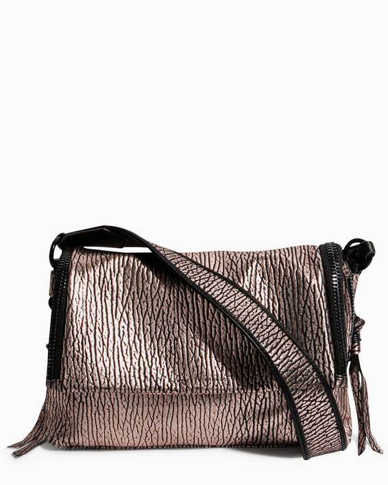 Night Is Young Shoulder Bag - rose gold bubble lamb front
