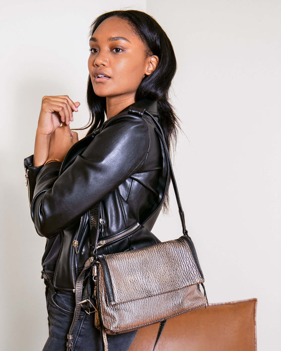 Night Is Young Shoulder Bag - rose gold bubble lamb on model