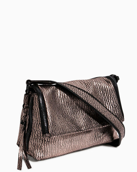 Night Is Young Shoulder Bag - rose gold bubble lamb side angle