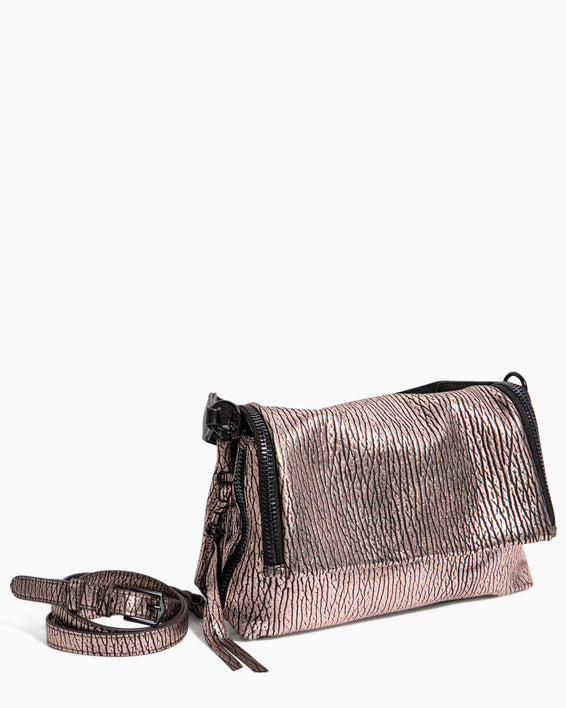 Night Is Young Shoulder Bag - rose gold bubble lamb removable strap