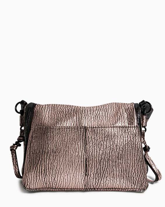 Night Is Young Shoulder Bag - rose gold bubble lamb back