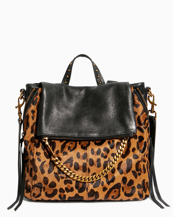 No B.S. Convertible Backpack - large leopard haircalf front