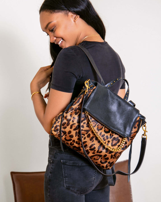 No B.S. Convertible Backpack - large leopard haircalf on model