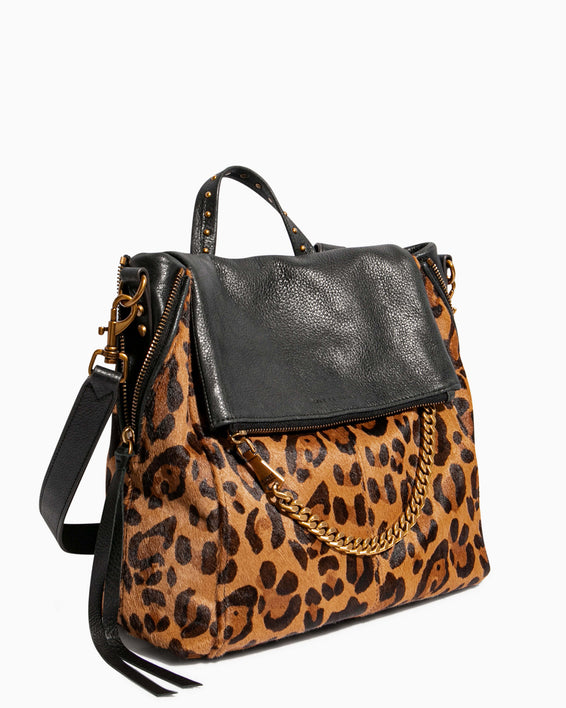 No B.S. Convertible Backpack - large leopard haircalf side angle