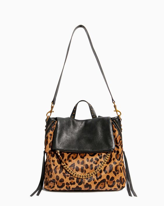 No B.S. Convertible Backpack - large leopard haircalf shoulder strap