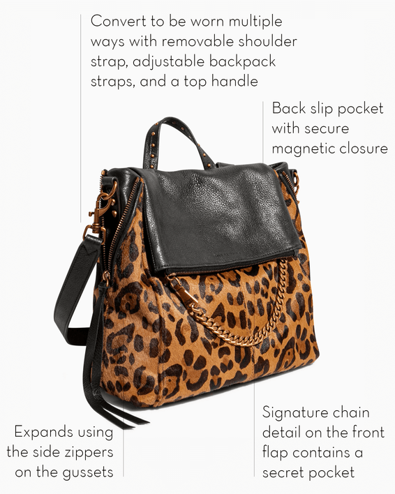 No B.S. Convertible Backpack - large leopard haircalf features