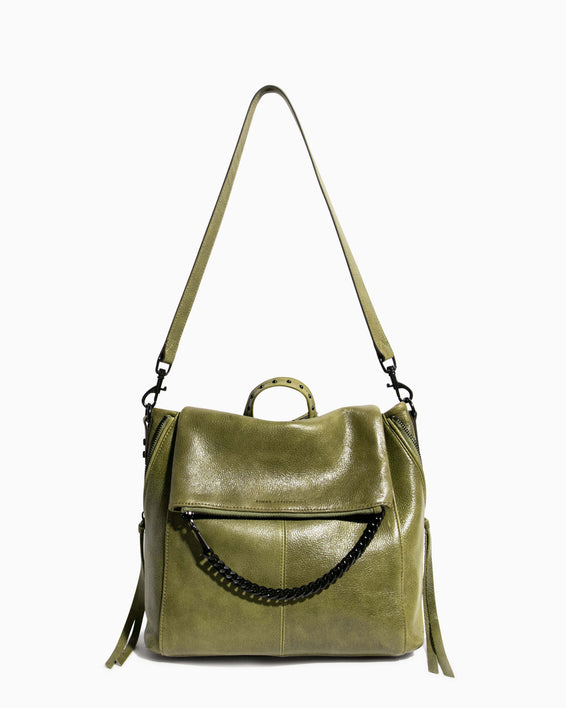 No B.S. Convertible Backpack - olive shoulder strap