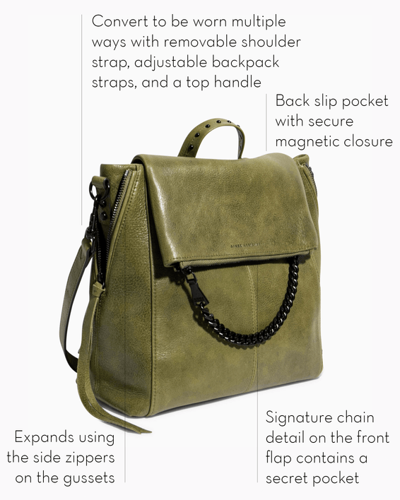 No B.S. Convertible Backpack - olive features