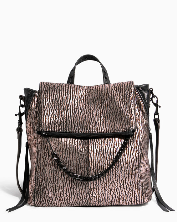 No B.S. Convertible Backpack - rose gold bubble lamb front