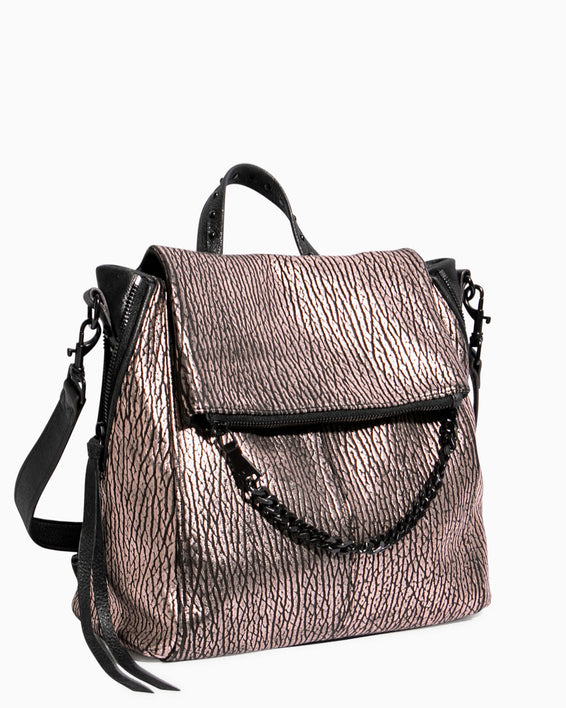 No B.S. Convertible Backpack - rose gold bubble lamb side angle