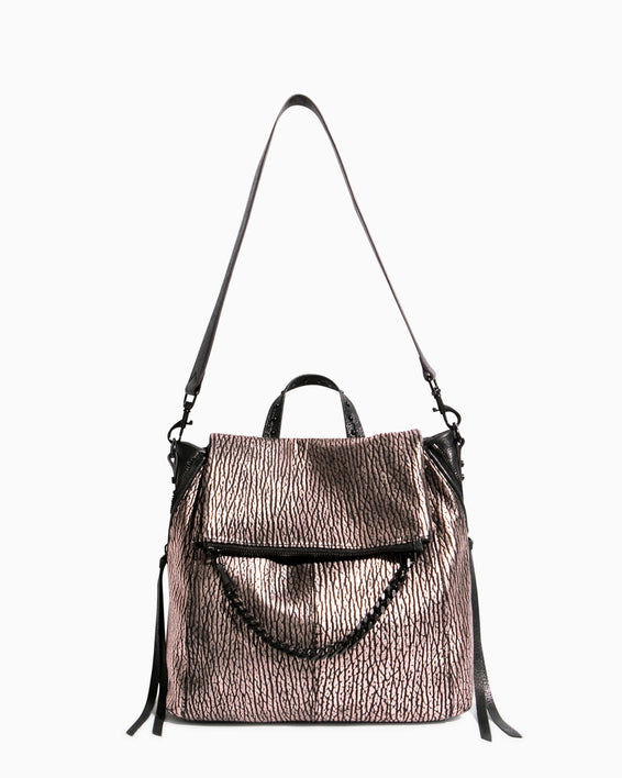 No B.S. Convertible Backpack - rose gold bubble lamb shoulder strap