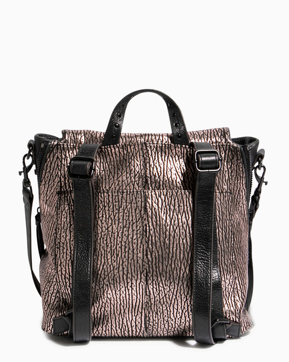 No B.S. Convertible Backpack - rose gold bubble lamb back