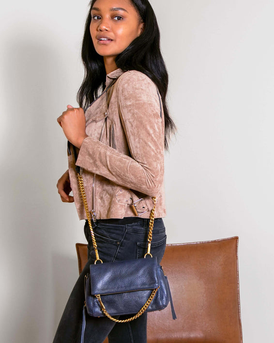 No B.S. Mini Crossbody - deep indigo on model