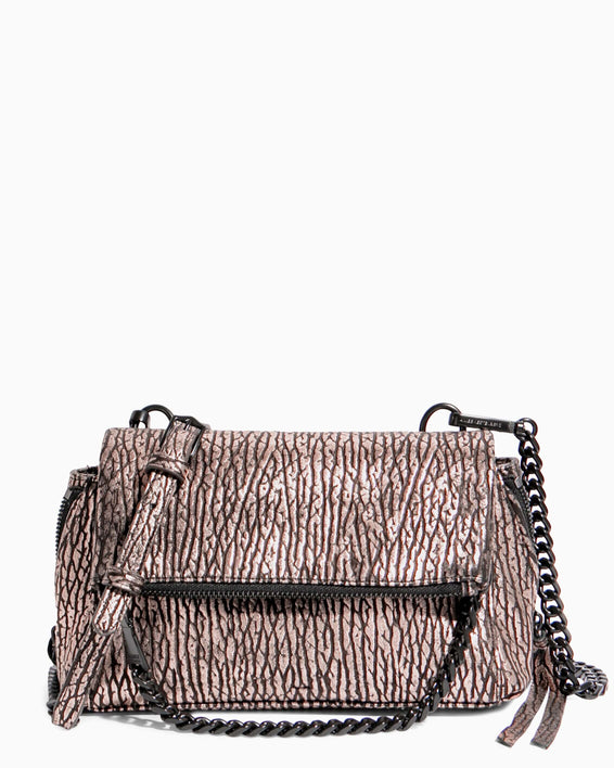 No B.S. Mini Crossbody - rose gold bubble lamb front