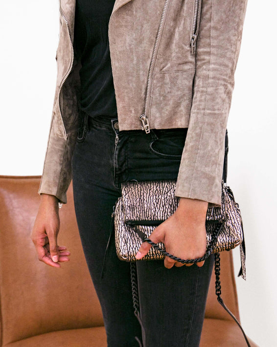 No B.S. Mini Crossbody - rose gold bubble lamb on model