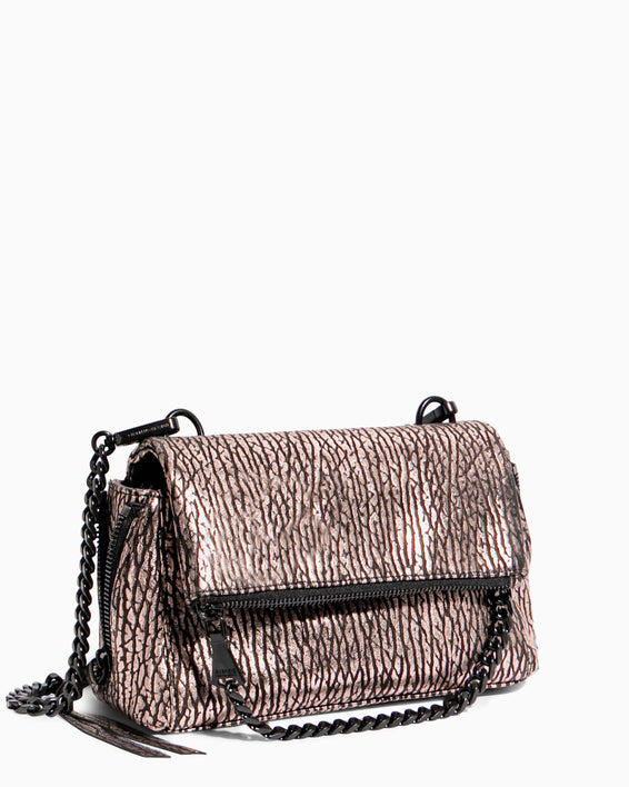 No B.S. Mini Crossbody - rose gold bubble lamb side angle