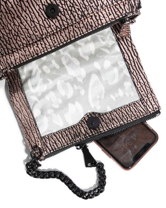 No B.S. Mini Crossbody - rose gold bubble lamb detail