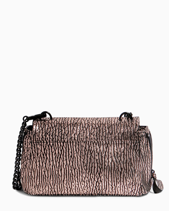No B.S. Mini Crossbody - rose gold bubble lamb back
