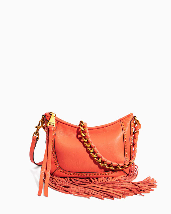 Take Me Out Fringe Crossbody Coral - front