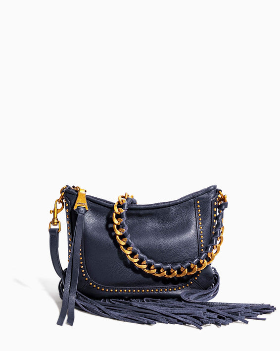 Take Me Out Fringe Crossbody Deep Indigo - front