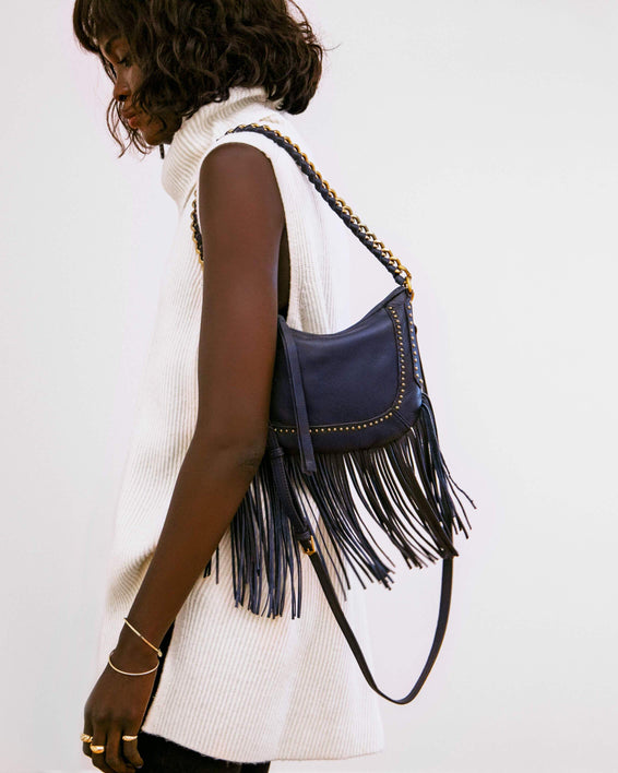 Take Me Out Fringe Crossbody Deep Indigo - on model