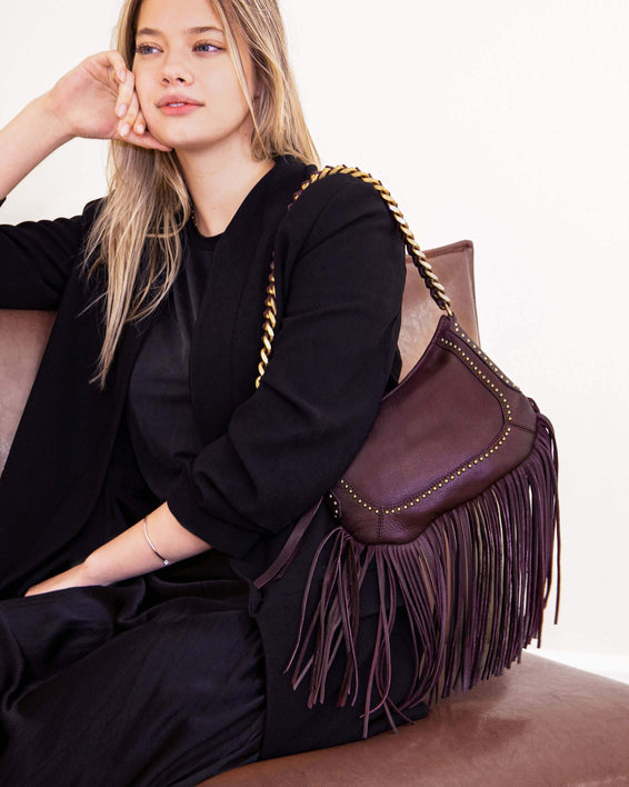 Take Me Out Fringe Crossbody Coral - on model