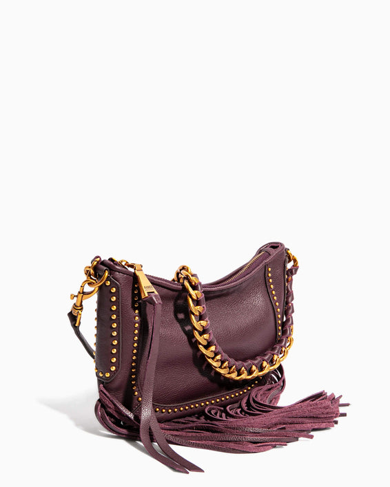 Take Me Out Fringe Crossbody Merlot Zebra - side angle
