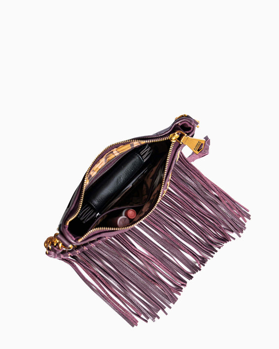 Take Me Out Fringe Crossbody Merlot Zebra - interior functionality