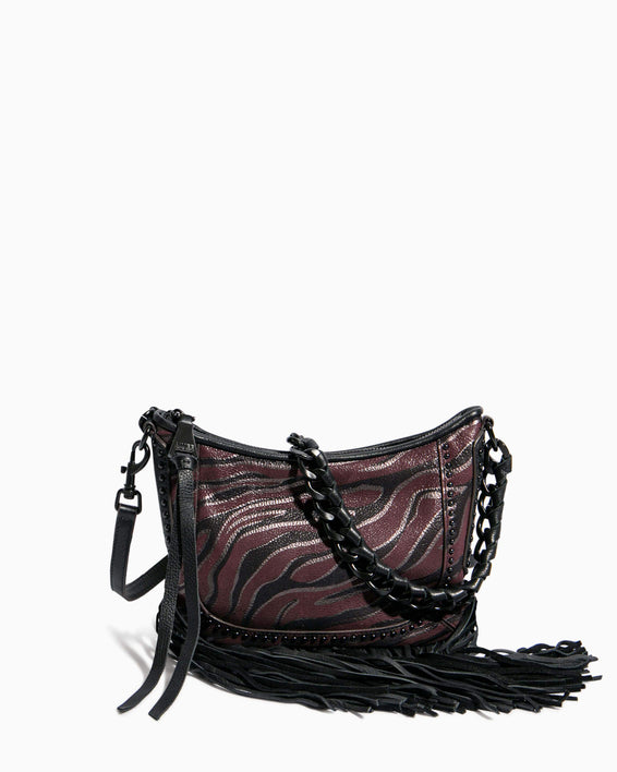 Take Me Out Fringe Crossbody Merlot Zebra - front