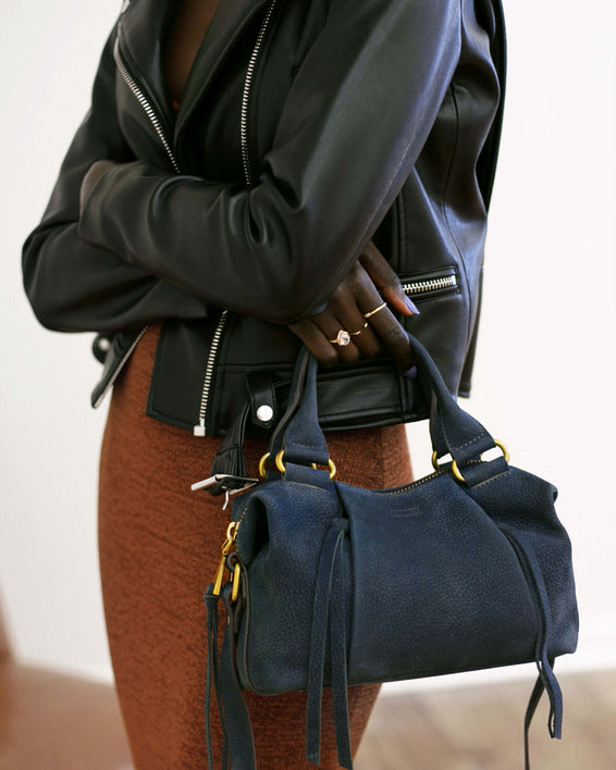Tamitha Mini Satchel - deep indigo on model