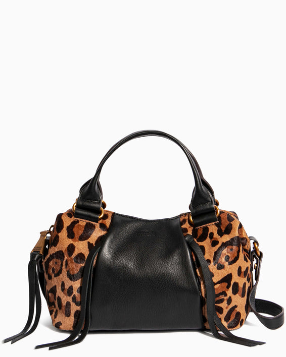Tamitha Mini Satchel - large leopard haircalf front