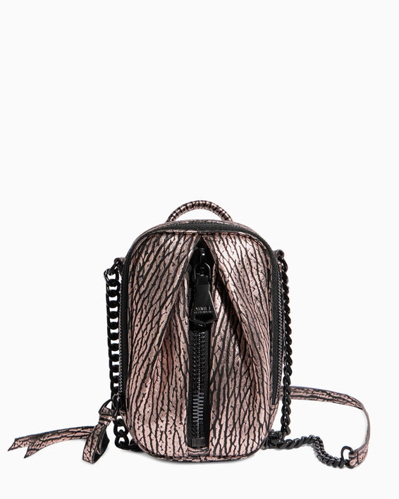 Tamitha Phone Crossbody - rose gold bubble lamb front