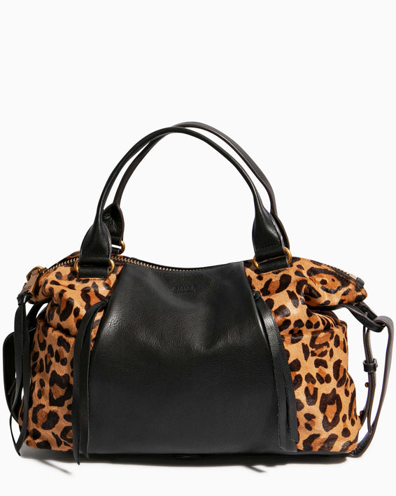 Tamitha Satchel - large leopard haircalf front