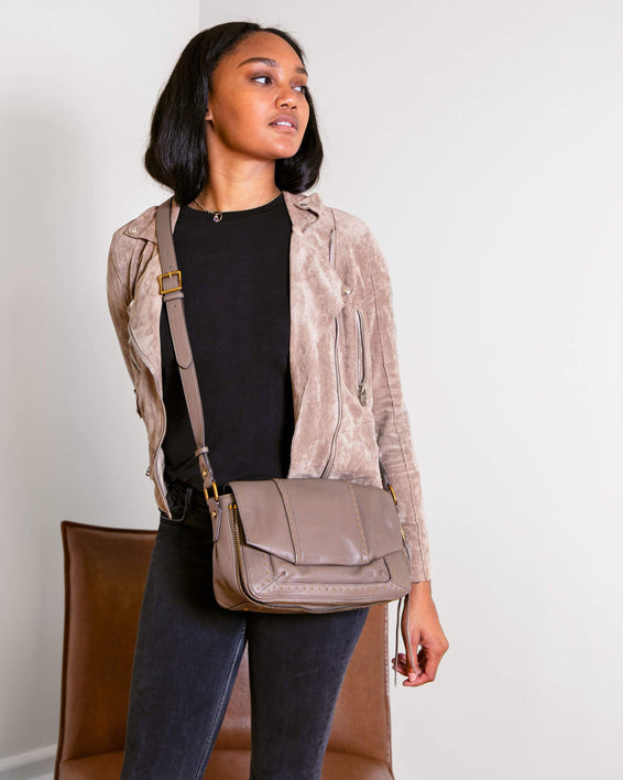 When In Milan Large Crossbody Charcoal - on model