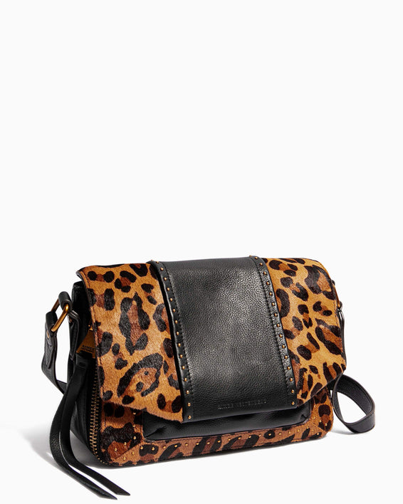 When In Milan Large Crossbody Large Leopard Haircalf - side angle