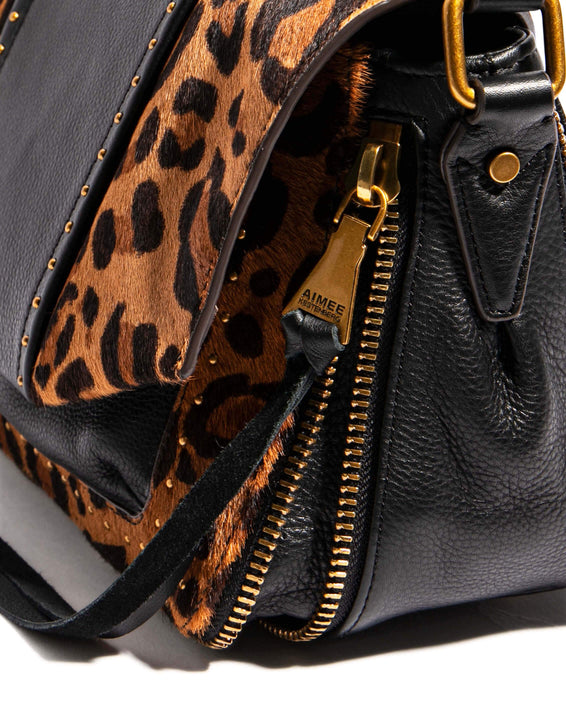 When In Milan Large Crossbody Large Leopard Haircalf - gusset zipper detail