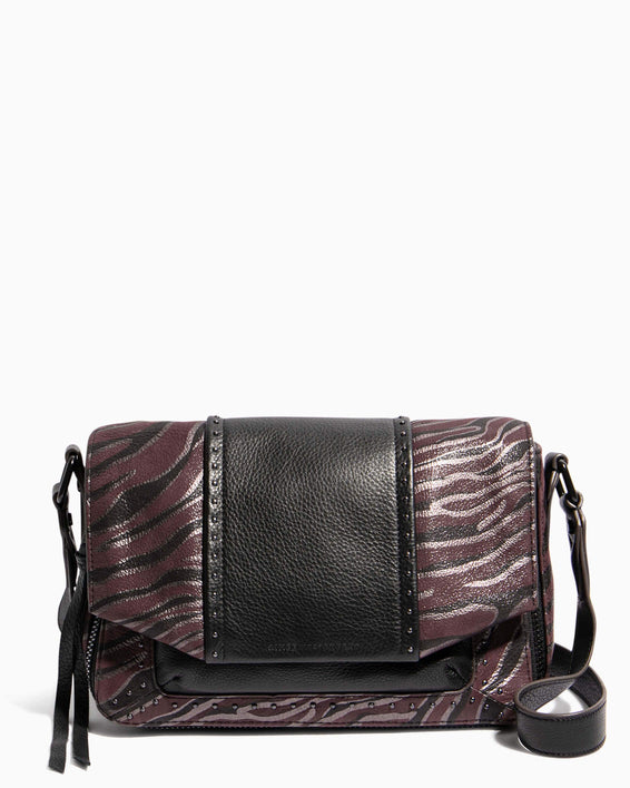 When In Milan Large Crossbody Merlot Zebra - front