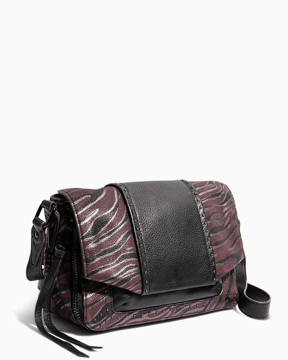 When In Milan Large Crossbody Merlot Zebra - side angle