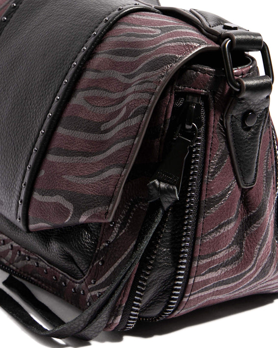 When In Milan Large Crossbody Merlot Zebra - gusset zipper detail