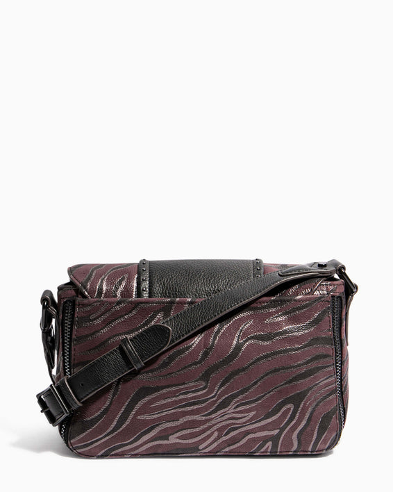 When In Milan Large Crossbody Merlot Zebra - back
